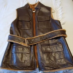 Gorgeous Fleece Lined Brown Leather Vest